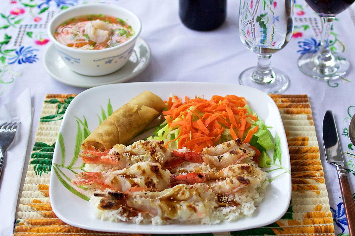 Langoustines du Vietnam grillées Repas combiné #5
