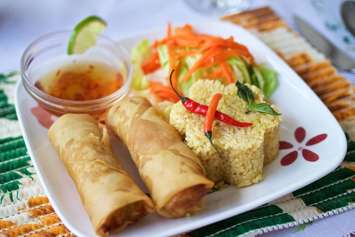 Rouleaux impériaux végétariens avec riz frit Plats végétariens